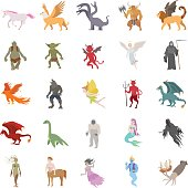 25 Mythical creatures color vector icons