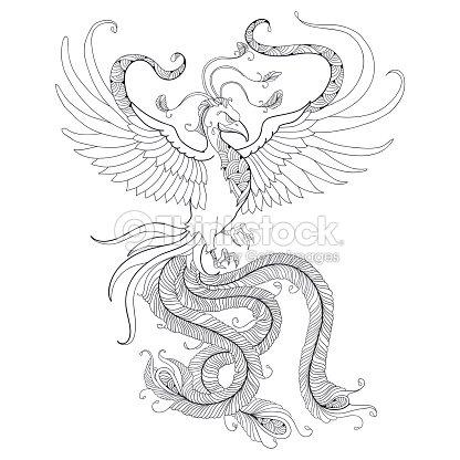 mythologische phoenix oder phenix isoliert auf wei em. Black Bedroom Furniture Sets. Home Design Ideas