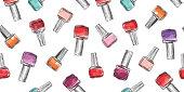 Nail polish bottle seamless pattern. Beauty salon manicure background.
