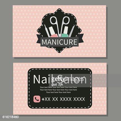 Nail Salon. Cute business card : Vector Art