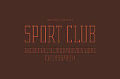 Narrow serif font in the sport style. Thin line typeface. Letters and numbers for label and title design. Red print on brown background