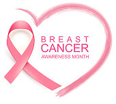 National breast cancer awareness month. Poster pink ribbon, text and heart shape. Isolated on white vector illustration