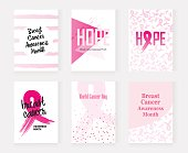 vector illustration National Breast Cancer Awareness Month (Pink ribbon) set