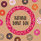 National Donut Day greeting card, poster, banner. USA american traditional holiday background with doughnut frame and pattern. Vector illustration.