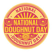 National Doughnut Day, rubber stamp, vector Illustration
