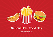 Fast Food icon set. Hamburger, hot dog and French fries. American Food Feast. Important day