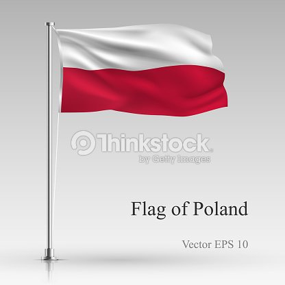 national flag of poland isolated on gray background realistic polish