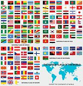 Vector Illustration : National flags of the world, dis-part the continents of world.