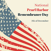 National Pearl Harbor Remembrance Day in USA. Card with the American flag and resembling an inscription. Vector grunge illustration