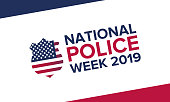 National Police Week in May. Celebrated annual in United States. In honor of the police. Officers Memorial Day. Poster, card, banner and background. Vector illustration