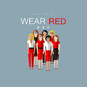 National wear red day. Vector flat illustration of women community wearing red dress