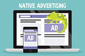 Native advertising conceptual illustration. Chameleon as a metaphor of native ads / flat editable vector illustration, clip art