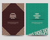 Ornamental flyer template with native american borders. Vector illustration