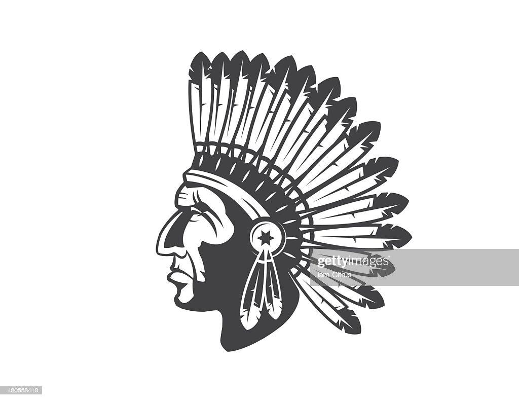 native american indian chief headdress : Vector Art