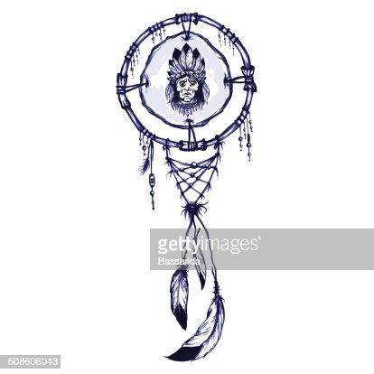Índio americano shamanic símbolo com Índio americano homem portret : Arte vetorial