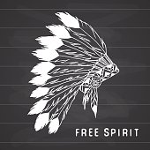 Native american traditional headdress with bird feathers and beads. Tribal legend in Indian style, Vector illustration, letters Free spirit on chalkboard.