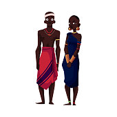 Native black aboriginal man and woman from African tribe, cartoon vector illustration isolated on white background. Couple of smiling African aborigines, full length portrait