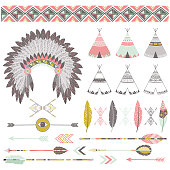 A vector illustration of Native Tribal Elements. Perfect for invitations, blog, web design, graphic design,embroidery, scrapbooking, scrapbook elements, papers, card making, stationery, paper crafts a