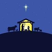 A vector illustration of a Nativity scene.