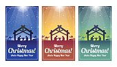 A set of Christmas Card with a Nativity Scene in Blue, Orange and Green.