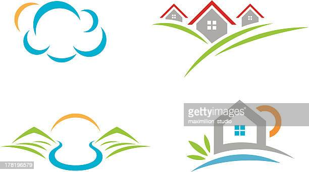 Natural beauty landscape logo social community and village life