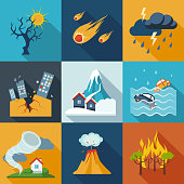 A set of natural disaster icons in fresh colors.