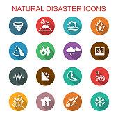 natural disaster long shadow icons, flat vector symbols