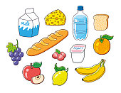 Milk carton, cheese piece, water bottle, toast, grape bunch, baguette bread, yogurt, strawberries, orange, apple fruit slice, lemon, bananas. Natural healthy breakfast vegetarian food set isolated.