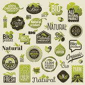 Natural organic product labels, emblems and badges. Set of design elements