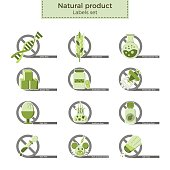 Natural product vector labels set. Dangerous ingredients or allergens to avoid in food, drinks and cosmetics. Icons crossed by 'no'-sign in flat design and eco-style colors.