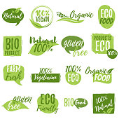 Stickers and badges for organic food and drink, restaurant, food store, natural products, farm fresh food, healthy products promotion. Natural products badges vector illustration