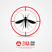 Nature, Aedes Aegypti mosquitoes with stilt target. sights signal. Ideal for informational and institutional related sanitation and care - stock vector