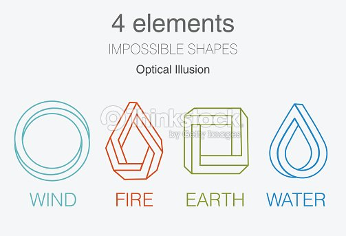 Nature Infographic Elements On Dark Background Impossible Shapes And