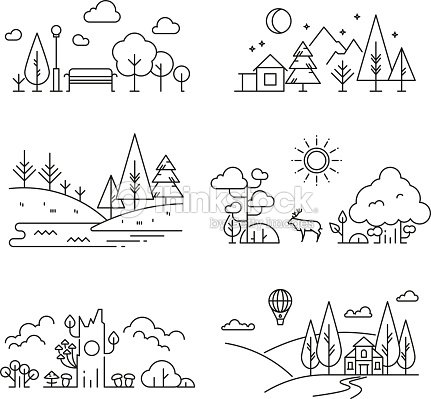 Nature landscape outline icons with tree, plants, mountains, river : arte vettoriale