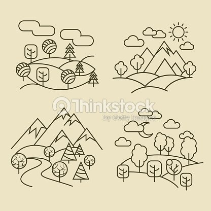 Nature landscape thin line icons. Forest and valley landscapes vector illustration