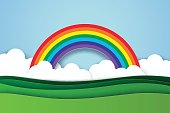 Nature landscape with rainbow background , paper art style