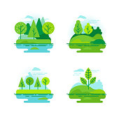 Vector set of icons and illustration in flat linear style - nature landscapes with green trees
