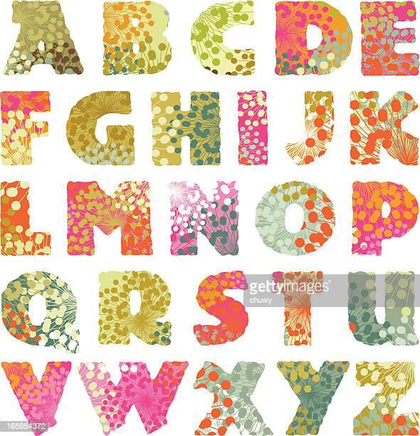 Nature vintage alphabet