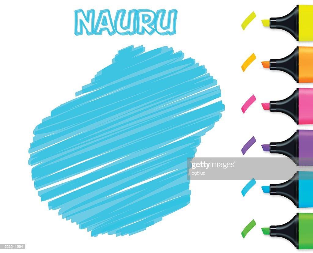 Nauru Map Hand Drawn On White Background Blue Highlighter Vector - Nauru map vector