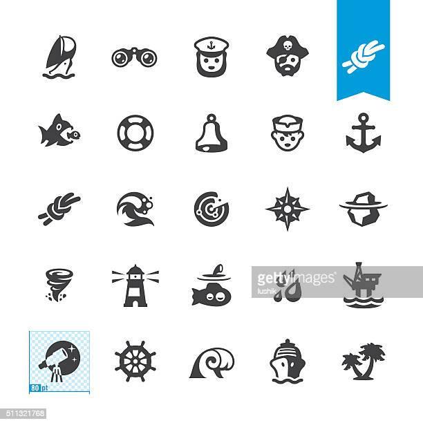 Náutica y vela iconos vectoriales
