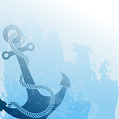 Nautical background with anchor and rope