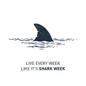 Hand drawn nautical badge with shark's fin textured vector illustration and 'Live every week like it's shark week' lettering.