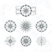 Nautical compass. Marine wind rose for maps. Vintage style vector illustrations. Set of compass nautical for map design navigation