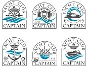 nautical collection of emblems with sea captain for yacht club