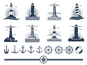 Nautical logos and elements set - anchors lighthouses rope. Vector illustration