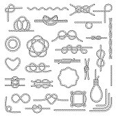 Nautical rope knots. Tie chart use by boaters, paddlers, scouts, search and rescue, arborists, climbers. Vector flat style illustration isolated on white background