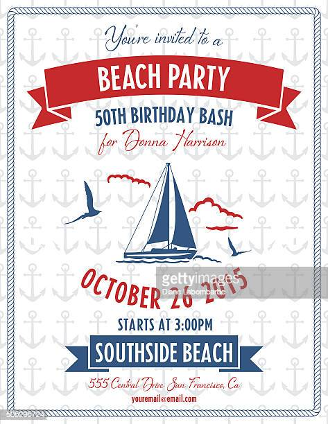 Playa fiesta temática náutica de invitación