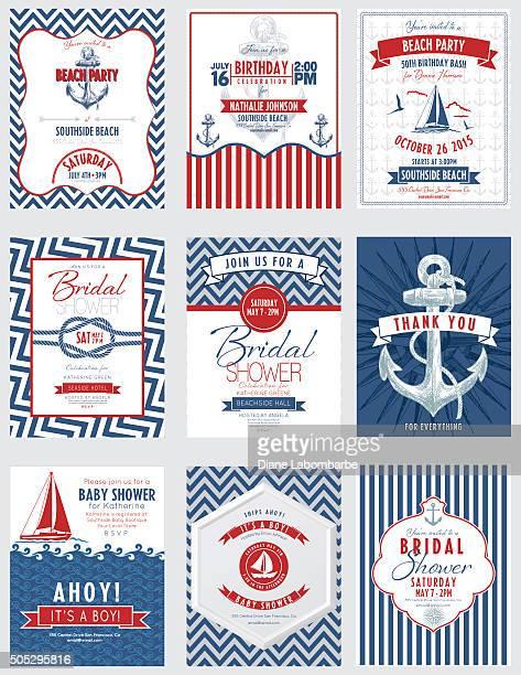 De fiesta temática náutica invitaciones