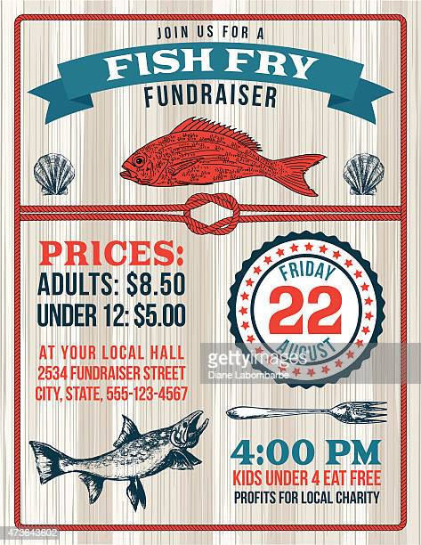 Nautical Themed Fish Fry Poster Template