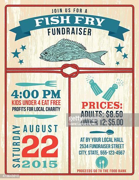 Nautischen Themen Fish Fry Plakat Vorlage